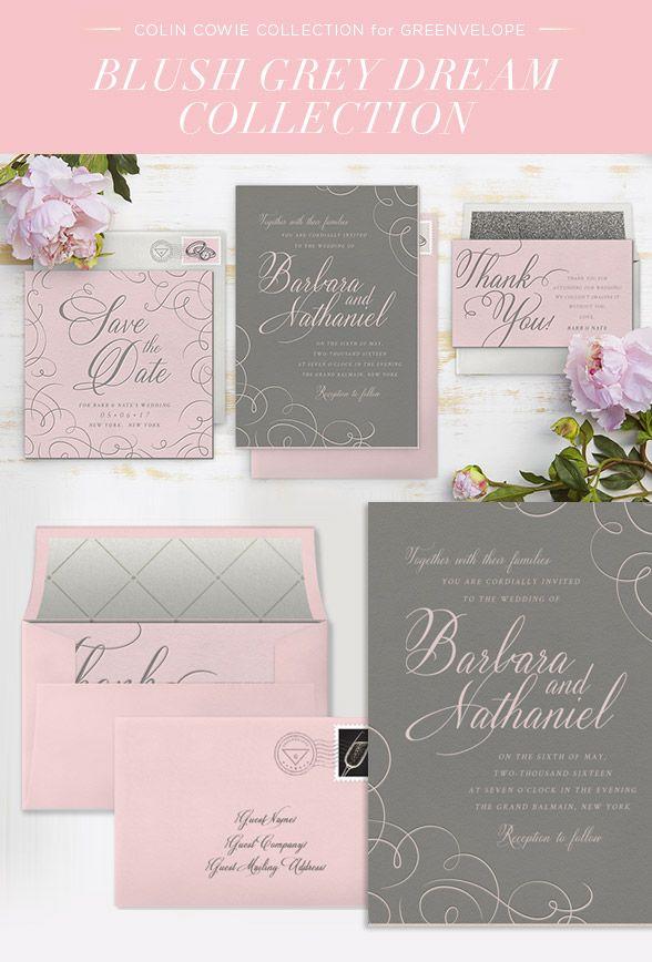 matter for wedding invitation in gujarati%0A Colin Cowie for Greenvelope Wedding Invitation Collection  Blush Grey Dream