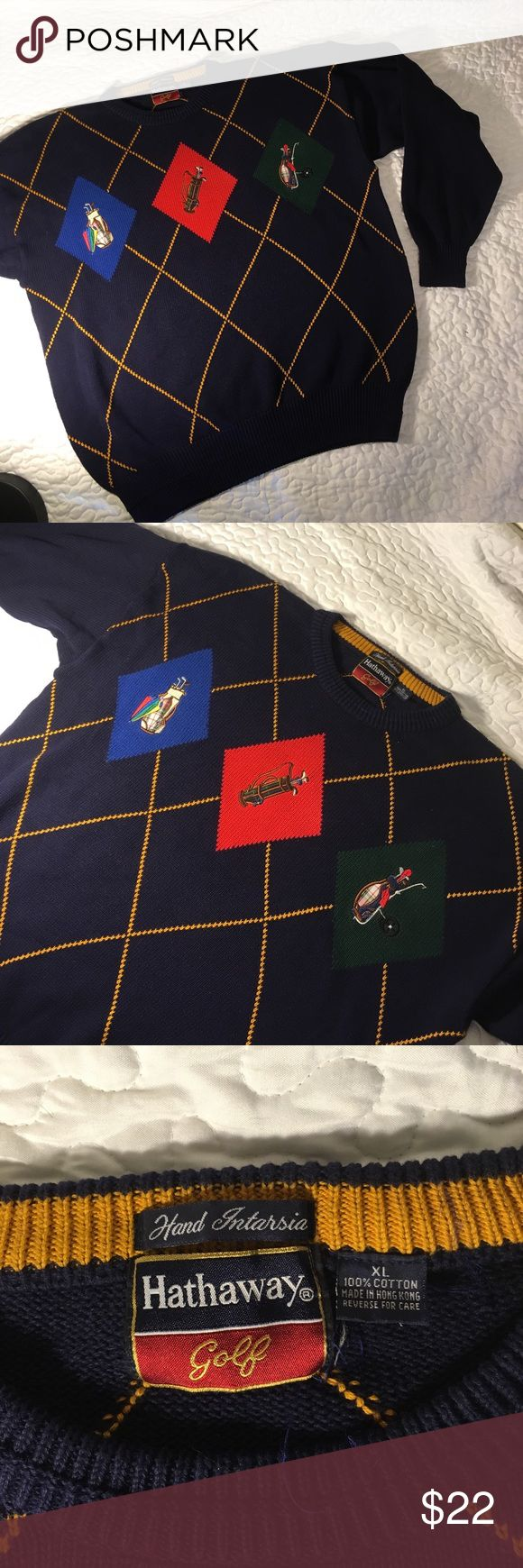 Hathaway Golf Sweater x 100 cotton Size XL x excellent used condition x great logos on front x no rips or stains x great gift for the golfer in your family x different than today's sweaters Hathaway Golf Sweaters Crewneck