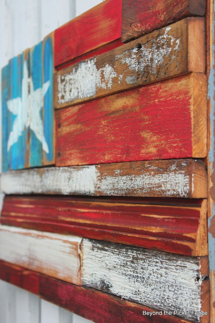 Reclaimed Wood Flag http://bec4-beyondthepicketfence.blogspot.com/2014 - Best 25+ Wood Flag Ideas That You Will Like On Pinterest