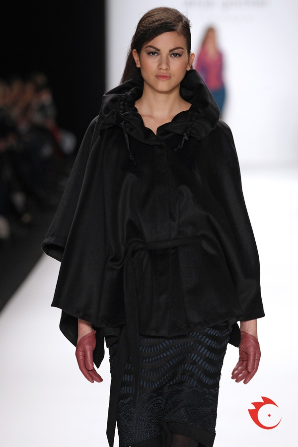 anja gockel - extraordinary black cashmere cape with petrol colored and black lace skirt