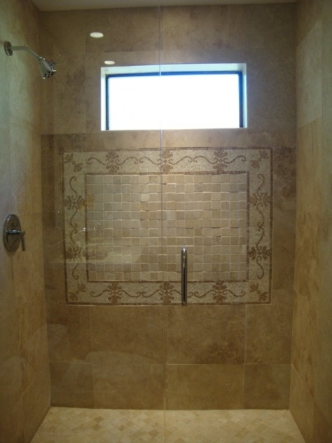 Travertine Tile (with Unknown Layout Pattern), Frameless Door (maybe Not  Full Height