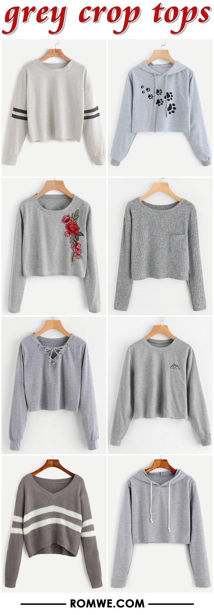 grey crop tops - romwe.com