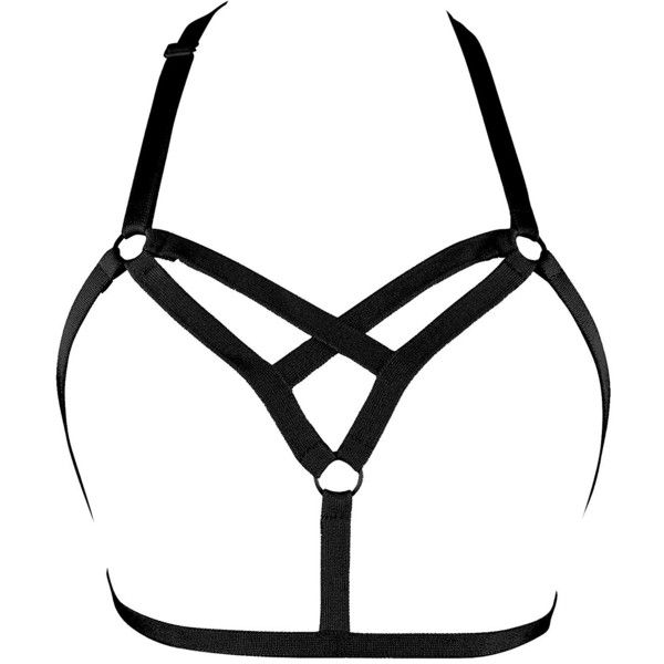 Amazon.com: meilun Body Harness Bandage Girl Rayon Bra Straps Cross... ($8.99) ❤ liked on Polyvore featuring tops, white crop top, bandage top, white tank, white crop tank and cropped tank top