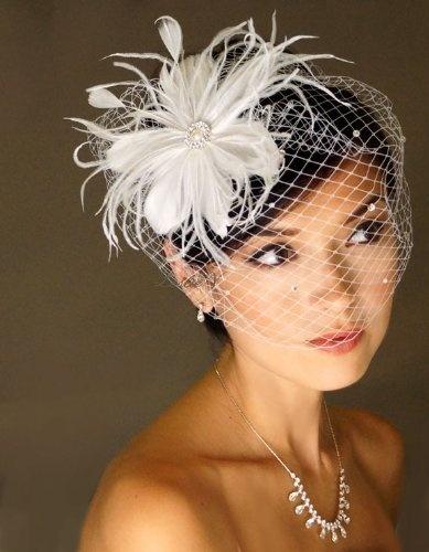 Ivory Pearl Rhinestone Feather Fascinator Hair Clip & Rhinestone Birdcage Bridal Veil $26.95