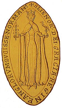 The obverse of Eleanor's seal. She is identified as Eleanor, by the Grace of God, Queen of the English, Duchess of the Normans. The legend on the reverse calls her Eleanor, Duchess of the Aquitanians and Countess of the Angevins.[13]