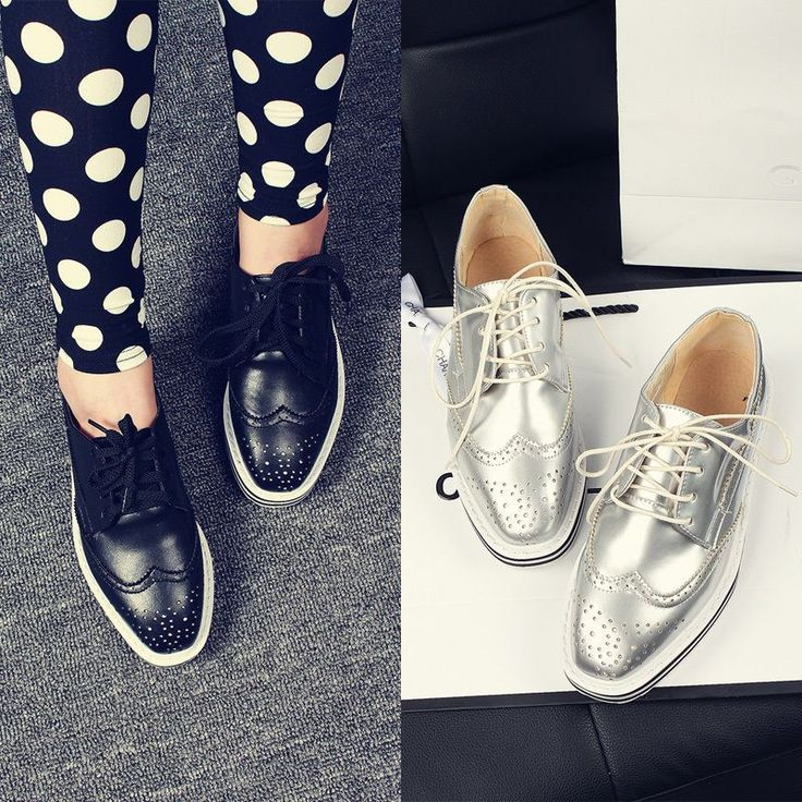 Details about Womens Oxford Brogue Wing-Tip Hollow Out ...