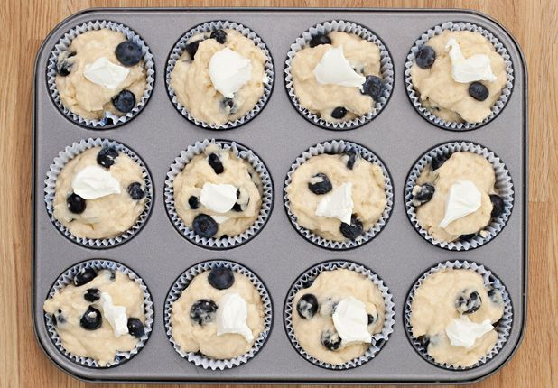 """Blueberry and cream cheese muffins from Jane Hornby, author of """"Fresh and Easy:  What to Cook and How to Cook It."""" I originally saw this in Glamour magazine, June 2012."""