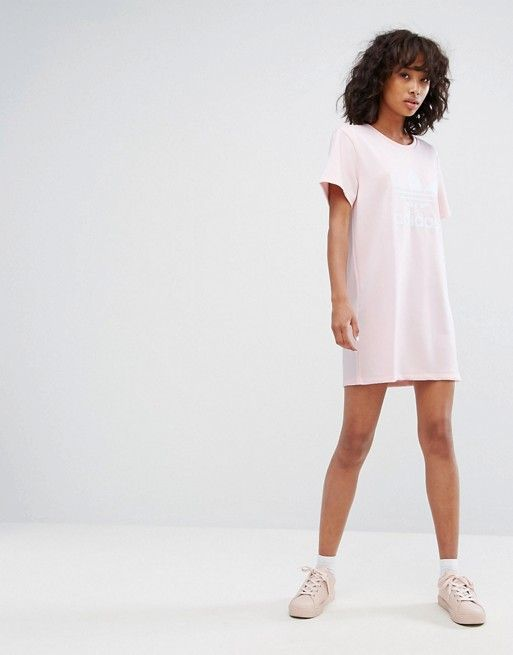 1715d0d8a2f9 adidas Originals Trefoil Tee Dress In Pale Pink