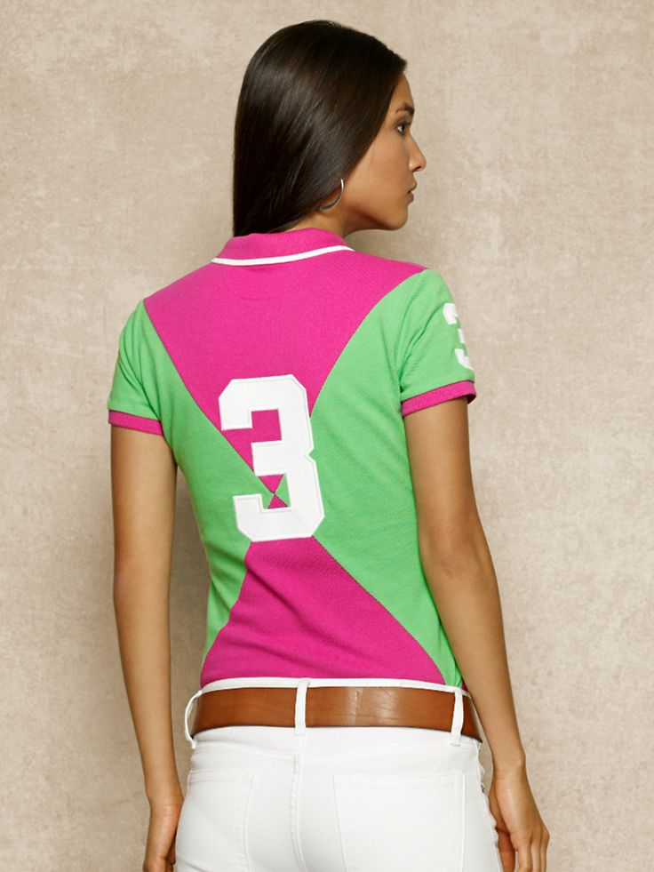 Pink and green polo, white jeans ---  Ah, the pink and green... Cute for a line!