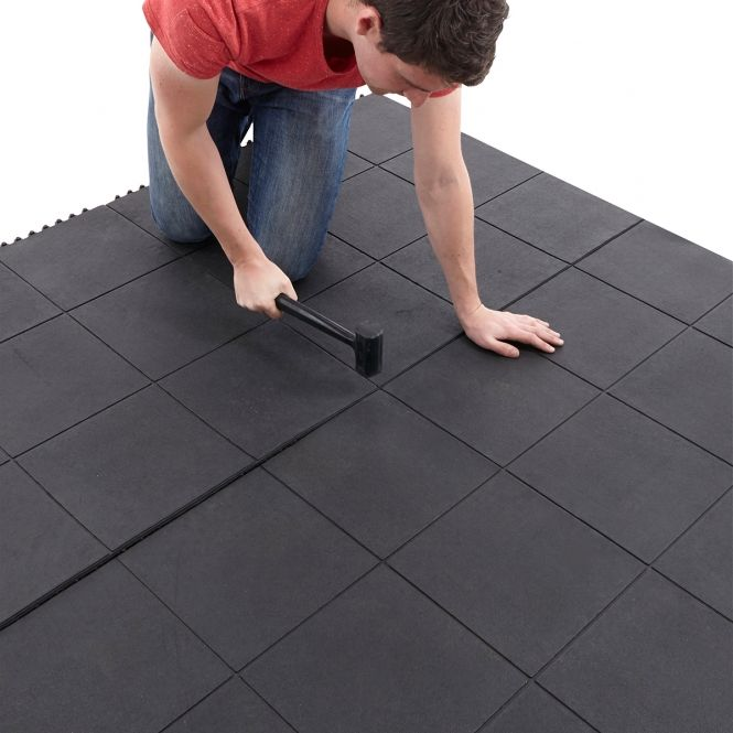 Solid top rubber interlocking anti fatigue mats gym goals