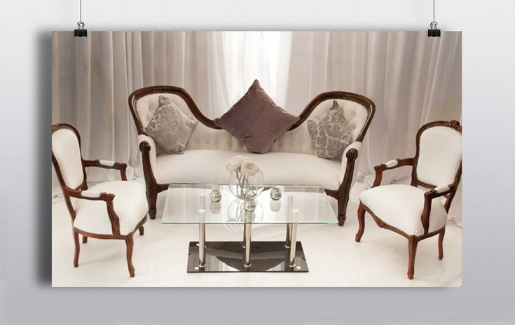 Fabulous Mahogany Lounge area set which can be rented as a set or separately.  Adds a simple  & easy touch of class to any venue.     Mahogany Couch Mahogany Chairs Glass Coffee Table http://www.prophouse.ie/portfolio/mahogany-lounge-area-set/