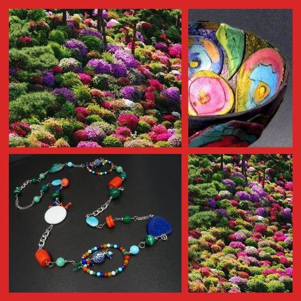 Evanescence Gioielli Turchese naturale, agata bianca , malachite ,lapis, pasta di turchese, corallo bamboo, palla porcellana decorata e argento rodiato.
