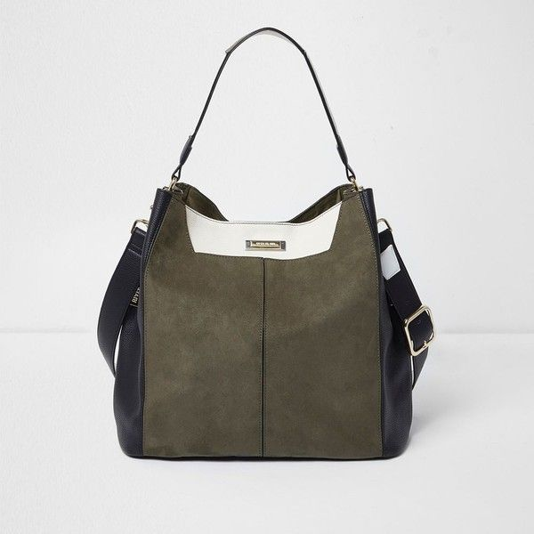 River Island Khaki contrast slouch bag (£59) ❤ liked on Polyvore featuring bags, handbags, shoulder bags, bags / purses, khaki, women, man bag, shoulder handbags, shoulder hand bags and handbag purse