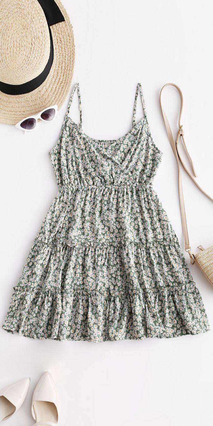 Sweet Floral Print Surplice Cami Dress summer  Sweet Floral Print Surplice Cami Dress summer Style: Casual Occasion: Casual ,Vacation Material: Cotton,Polyester,Polyurethane Silhouette: A-Line Dress Type: Surplice Dress Dresses Length: Mini Collar-line: Spaghetti Strap