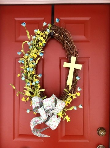 My Easter Spring Wreath I Can Change The Cross To Something Springy After
