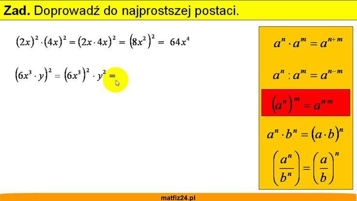 Potęga iloczynu i ilorazu. http://matfiz24.pl/potegi/potegowanie-iloczynu-ilorazu
