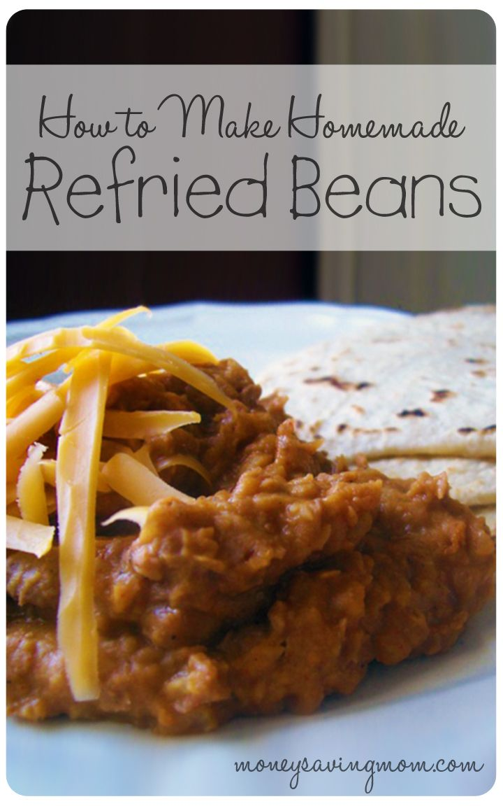 Homemade Refried Beans are healthier and much more delicious than canned refried beans. Plus, you can make them for less than $0.30 per can! Give this recipe a try and you just might never buy canned refried beans again!