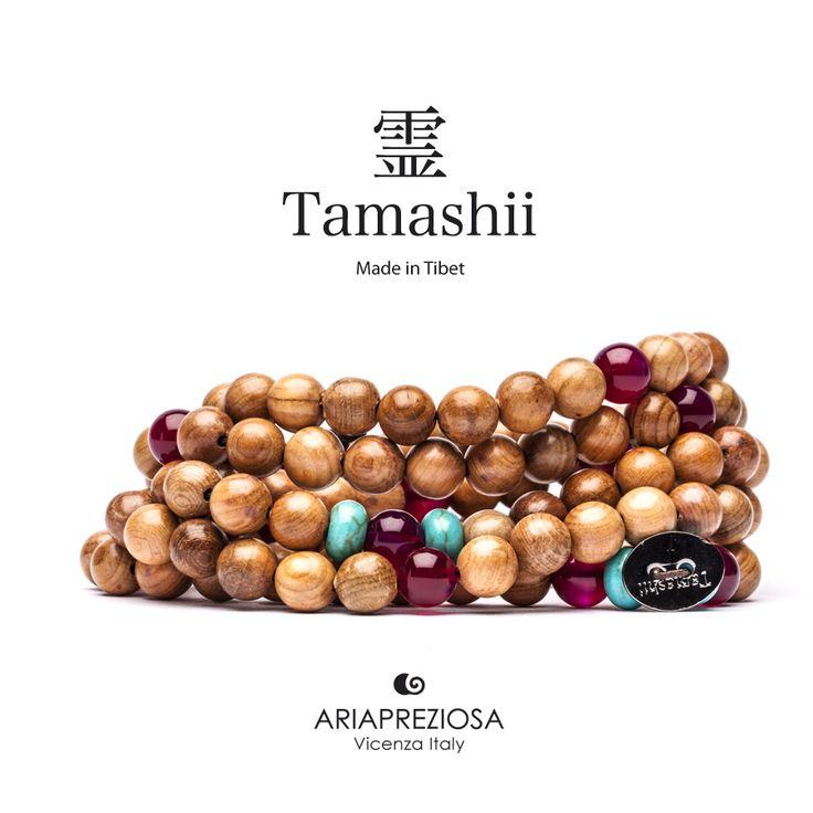 Tamashii - Mala Tibetana in Legno Hua Qi Nanmu profumato e pietre naturali Turchese e Agata Rossa