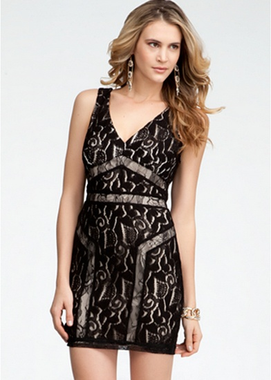 Abstract Lace Square V-Neck Dress #bebe #summer #musthaves