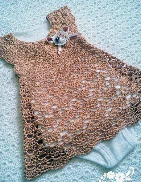 """Ажурное платье для новорожденной девочки """"Зефирка"""""""