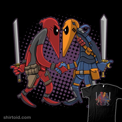 """""""Merc vs Merc"""" by Clay Graham Who will win in this ultimate Marvel / DC battle? Deadpool and Deathstroke in the style of Spy vs. Spy"""
