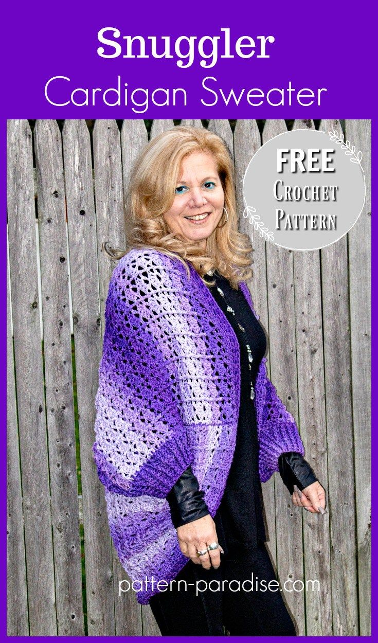 Free Crochet Pattern: Snuggler Cardigan Sweater | Pattern Paradise