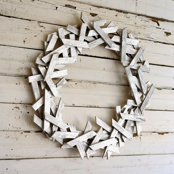 This wreath is artsy and unique with a great large scale too. A wreath that is perfect for the modern office or home as well as on the side of: