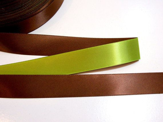 "Green Ribbon, Green Brown Satin Ribbon 7/8"" wide x 10 yards, Offray Dual Tone #Unbranded"