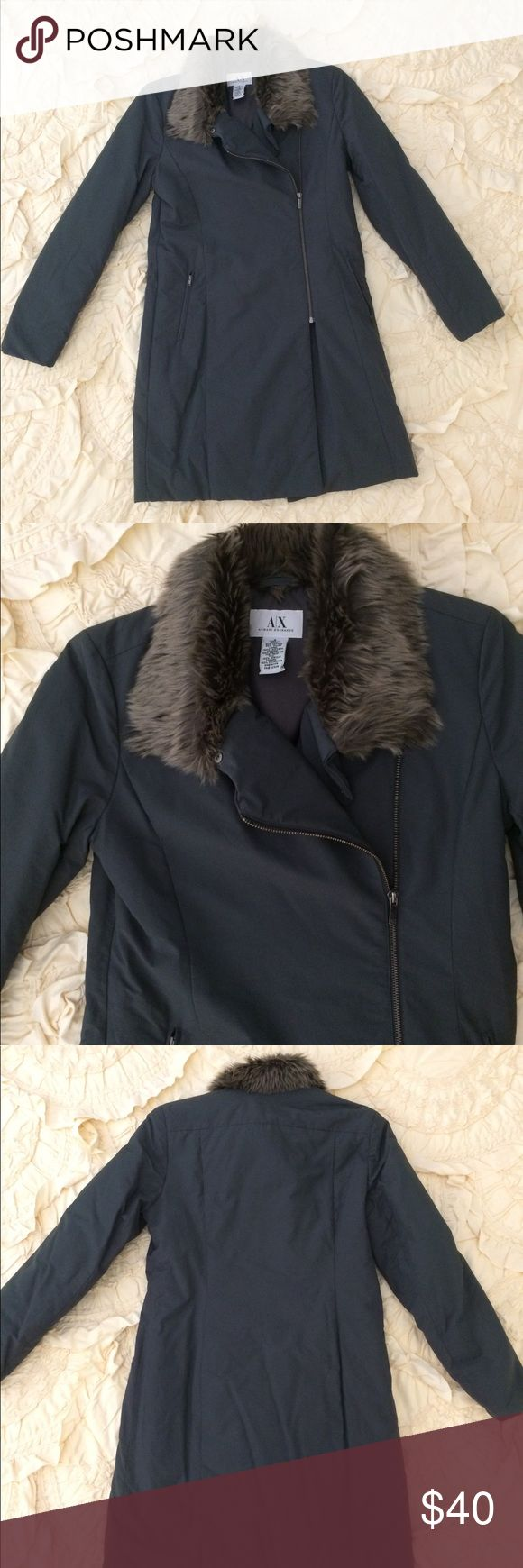 Armani Exchange Coat Armani Exchange coat with faux fur trim.  The coat is light weight but warm.  The collar can be worn multiple ways.  It is in good condition and has only been worn during 2 trips. Armani Exchange Jackets & Coats Puffers