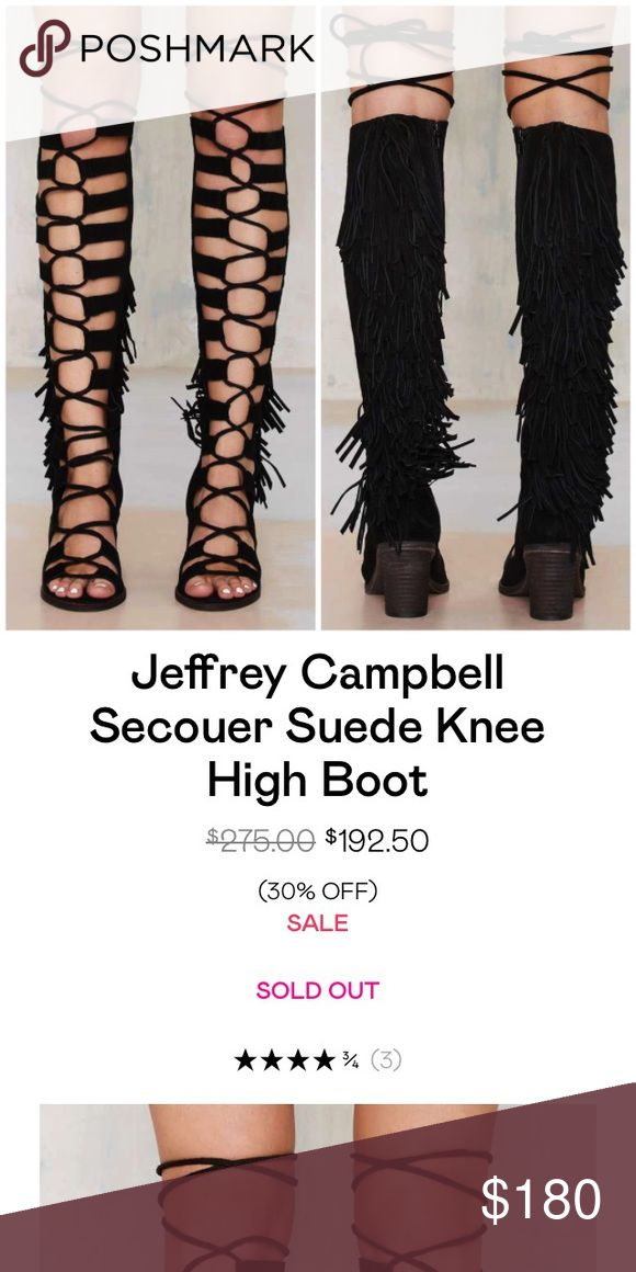 """Jeffrey Campbell secouer suede knee high boot The only thing better than a gladiator is a gladiator with fringe and a heel. The Secouer Boot is made in black suede and has a gladiator-inspired lace-up front, cutouts, fringe detail, cylindrical stacked heel, and peep toe. Side zip closure. We love it with a vintage mini dress and a bucket bag. By Jeffrey Campbell.*Suede Leather/Synthetic Materials  *Shoe height: 21""""/53cm  *Heel height: 3.5""""/9cm  *True to size  *Imported. Last seen on nasty…"""