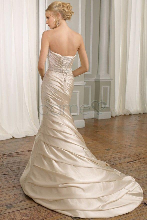 Aussen Falte Mieder Rechteck Taft Schnuerruecken Meerjungfrau Traegerloses Brautkleid P2968 $421.99 Brautkleider