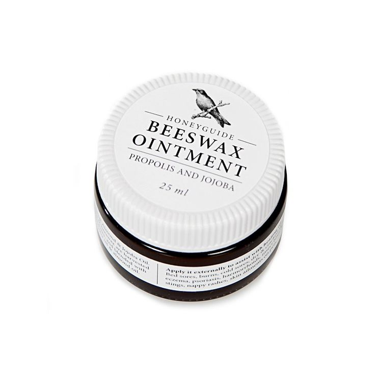 Honeyguide Beeswax Ointment is a wonderful healing blend of natural oils and beeswax. It soothes rashes and burns, sores and insect bites; heals skin conditions such as eczema, and improves acne. It is even gentle enough to use on your pets.