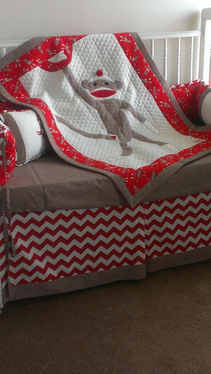 Custom Made Sock Monkey Crib bedding by SewCribCreations