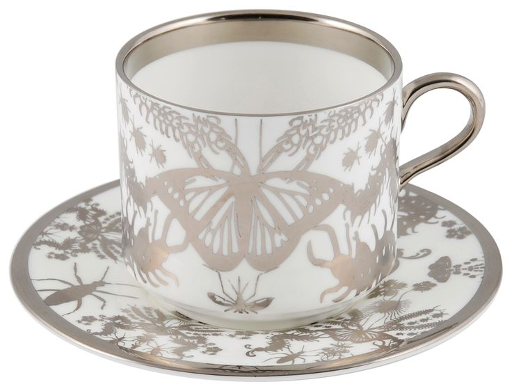 'Entomo' Platinum Latte Cup & Saucer – Ideal for your favourite hot drink with the company of an array of some of the most important yet often misunderstood creatures on our planet. From gossamer wings of the butterfly to the architectural magnificence of the stag beetle, together a pattern of wonderment and delight. Designed by Monica Tsang. Hand gilded platinum rim and details. Available in Platinum and Black. Handwash Only. Made in Stoke-on-Trent, England. Fine Bone China. Find out more…