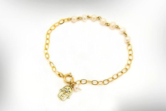 Gold Hamsa Bracelet # Charm Pearl Bracelet#nuritdesignjewelry# Jewelry Bracelets# Charm Bracelets# bat mitzvah gift# mother day gift #cuff bracelet# hamsa bracelet# israel jewelry# israel jewellry# pearl bracelet #june birthstone #granddaughter gift #girlfriend gift #handmade hamsa# charm bracelet