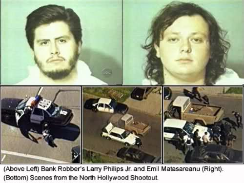 After several prior robberies, partners in crime Larry Eugene Phillips, Jr. and Emil Matasareanu strapped up with five illegally modified assault rifles, two pistols and over 3,300 rounds of armor-piercing ammunition for a scrupulously planned raid on the Laurel Canyon Blvd. Bank of America. Phillips and Matasereaunu were only able to get away with $305,305 until Phillips committed suicide and Matasereanu died of his wounds.