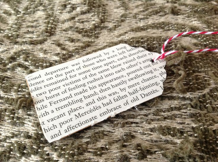 Here I've used (more) up-cycled book pages to create some simple, gift tags. Fantastic for craft projects as well as putting on presents!