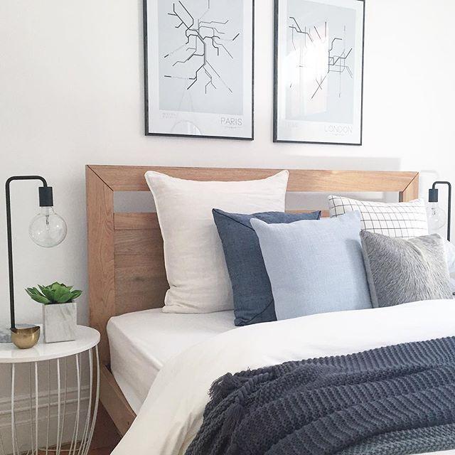 Recently styled by #thehiredhome. #bedroom #bedlinen #bedroominspo #hidecushion #denim #homedecor #house #presalestyling #propertysydney #propertystyling #