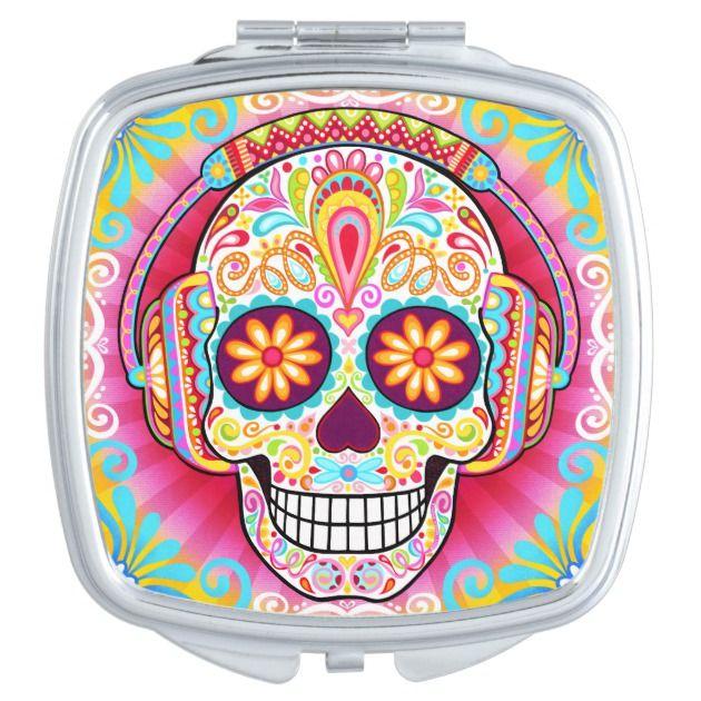 Pin On El Dia De Los Muertos, Sugar Skull Compact Mirror