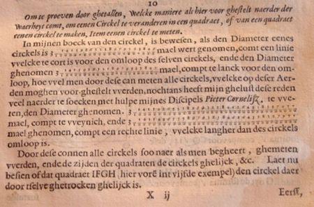 El matemático Ludolph van Ceulen (1540-1610) cumpliría hoy 475 años.  Calculador excepcional, se le conoce fundamentalmente por haber aproximado el valor del número pi con 35 cifras decimales exactas, utilizando para ello el método de los perímetros mediante un polígono regular de 262 lados. Este récord se mantuvo durante 30 años.