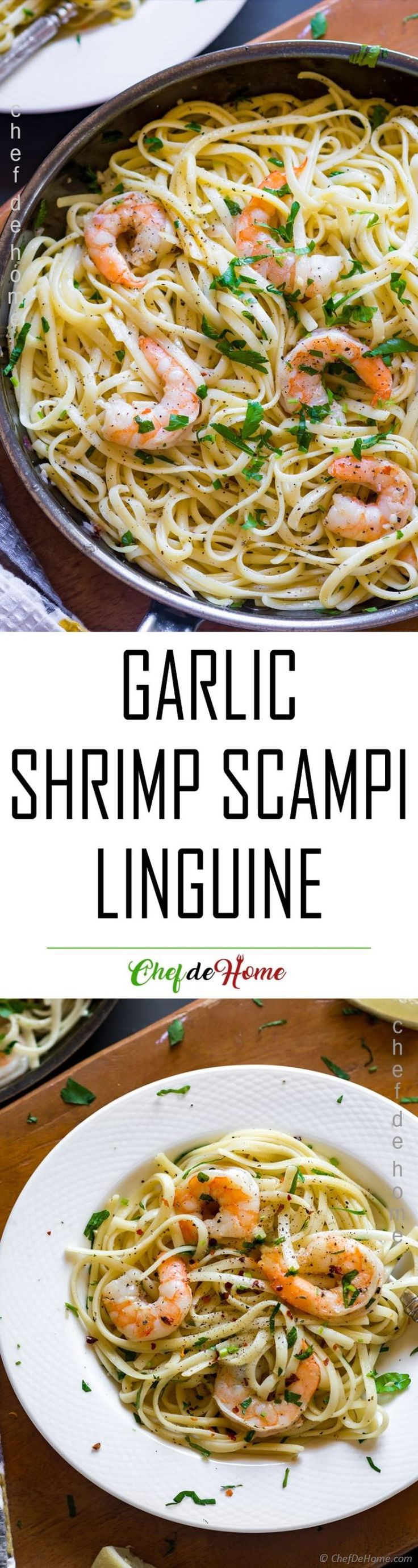 Garlic Shrimp Scampi Linguine - Linguine coated in buttery Garlic and Wine Shrimp Scampi sauce for a 25 minute weeknight pasta dinner!