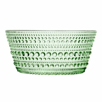 iitala Dewdrop Green Dessert Bowls in green. Super cute textured dessert bowls. There are matching dinner plates, serving plates and salad plates.