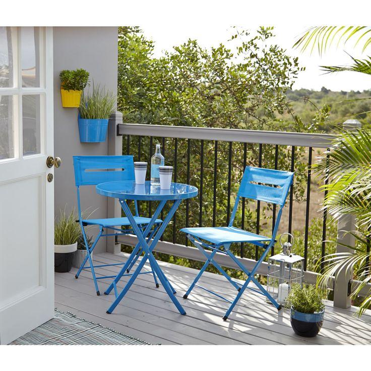 Wilko Bistro Set Textiline Balcony Blue at