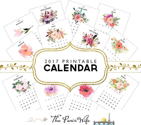 Buy1get1FREE! Purchase 2017 Printable Watercolor Floral Calendar and get Coloring Page Calendar for free!