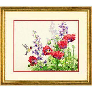 Stickpackung Stickbild Kolibri und Mohnblumen, gezählter Kreuzstich