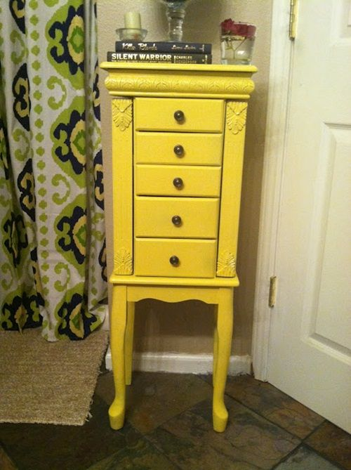 This jewelry armoire went from drab to fab with a bright coat of paint.