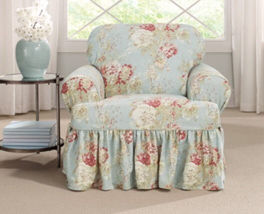 SureFit Ballad Bouquet Robinu0027s Egg T Cushion Slipcover NWOT Cottage Living  Room Part 40