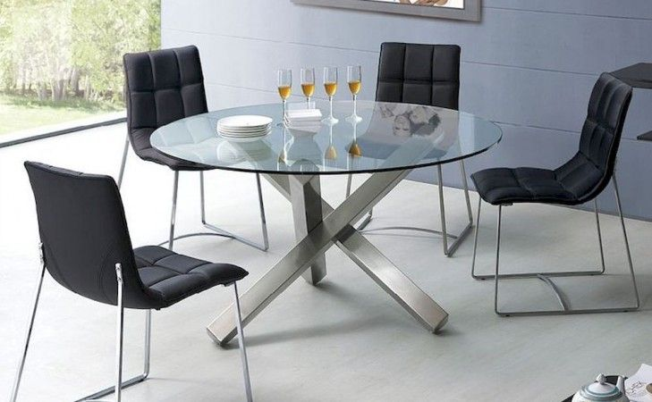 New Design Round Glass Dining Table Set Modern