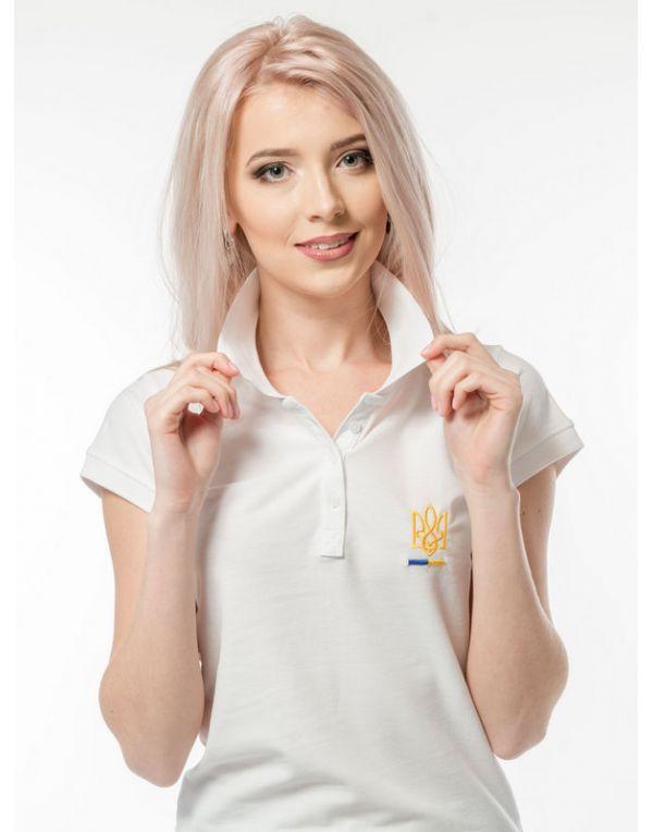 Жіноча вишита футболка поло  «ТРИЗУБ» 9b5f7f7f57220