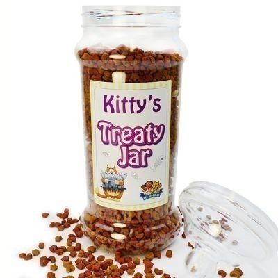 Personalised Cat Treat Jar - Give your cat a special gift that's just for them! The label of the jar is personalised with your cat's name, so everyone knows who the treats belong to! #CatGifts #TreatJar #Cats #PersonalisedCatGifts £15.99